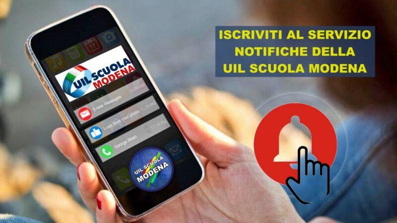 Iscriviti al servizio di notifiche push della Uil Scuola di Modena! Scopri come fare