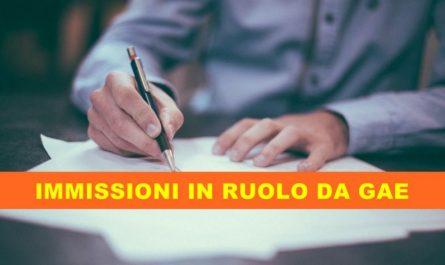 IMMISSIONI IN RUOLO DA GAE