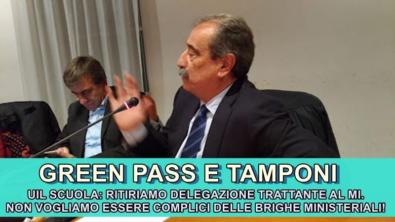 Green Pass e tamponi – Turi: sì alla firma del protocollo, ma ritiriamo delegazione trattante al MI